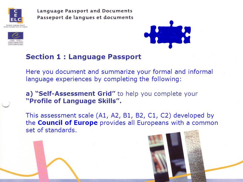 Section 1 : Language Passport