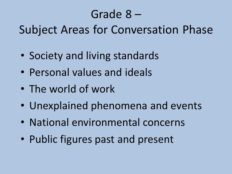 Grade 8 – Subject Areas for Conversation Phase