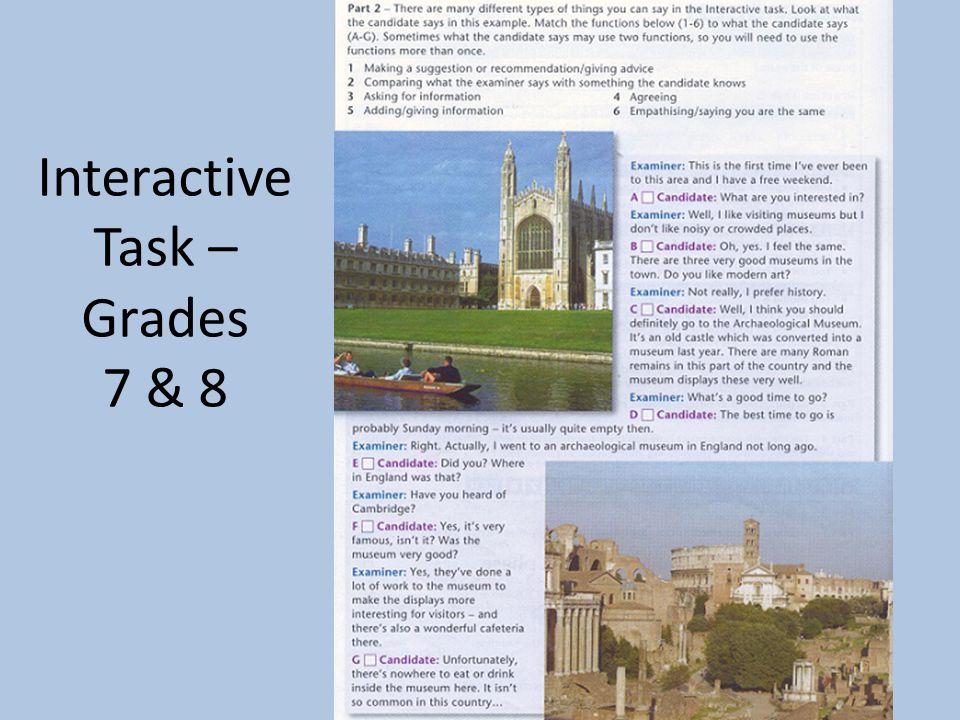 Interactive Task – Grades