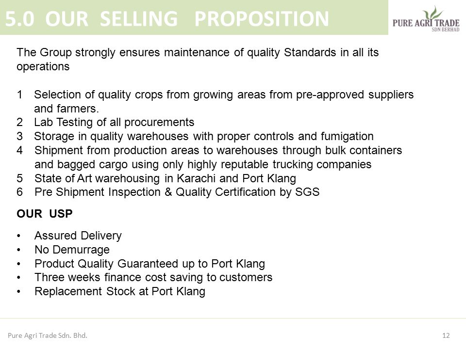 5.0 OUR SELLING PROPOSITION