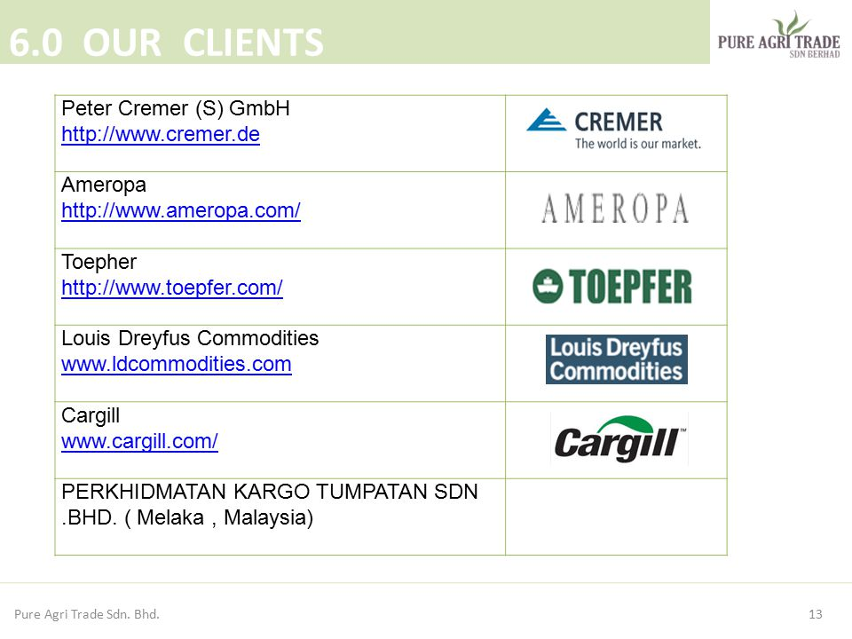 6.0 OUR CLIENTS Peter Cremer (S) GmbH http://www.cremer.de Ameropa