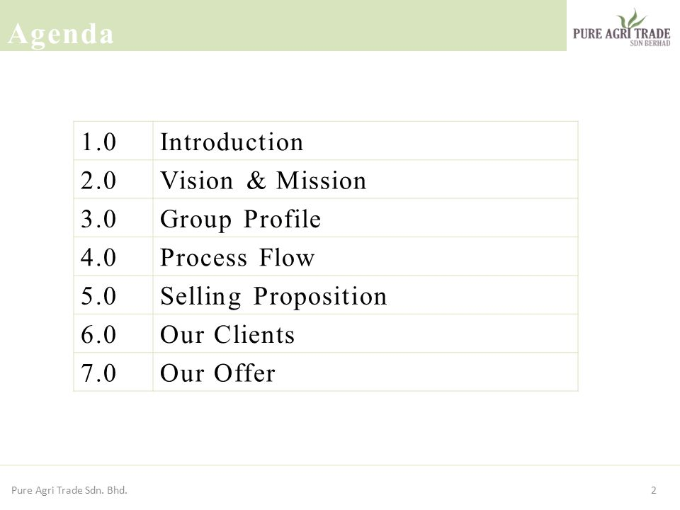 Agenda 1.0 Introduction 2.0 Vision & Mission 3.0 Group Profile 4.0