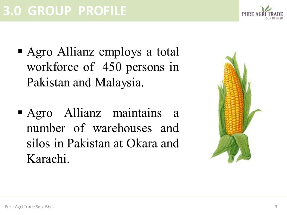 3.0 GROUP PROFILE Agro Allianz employs a total workforce of 450 persons in Pakistan and Malaysia.