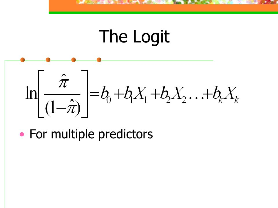 The Logit For multiple predictors
