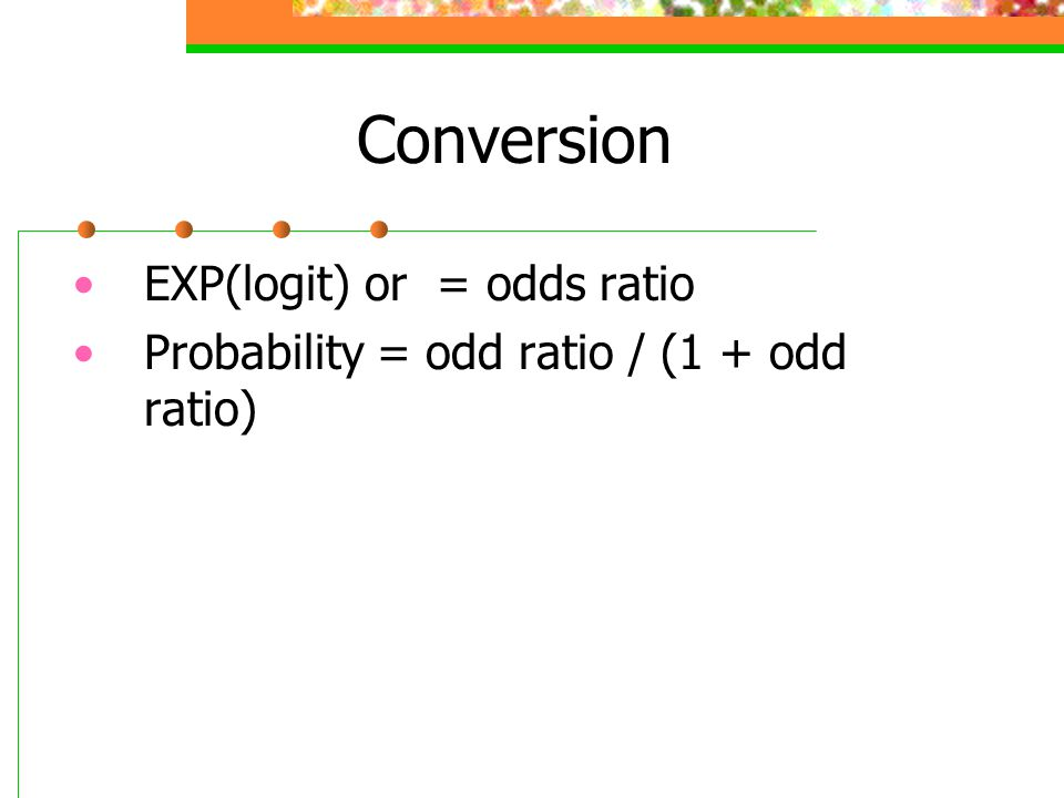 Conversion EXP(logit) or = odds ratio