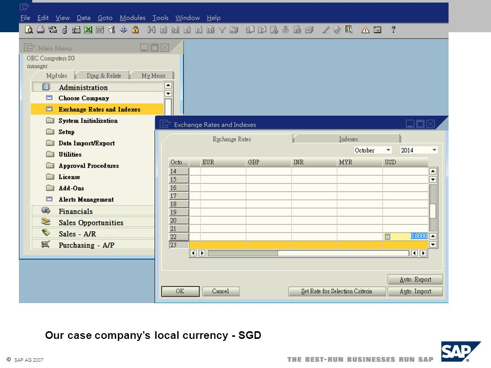 Our case company's local currency - SGD