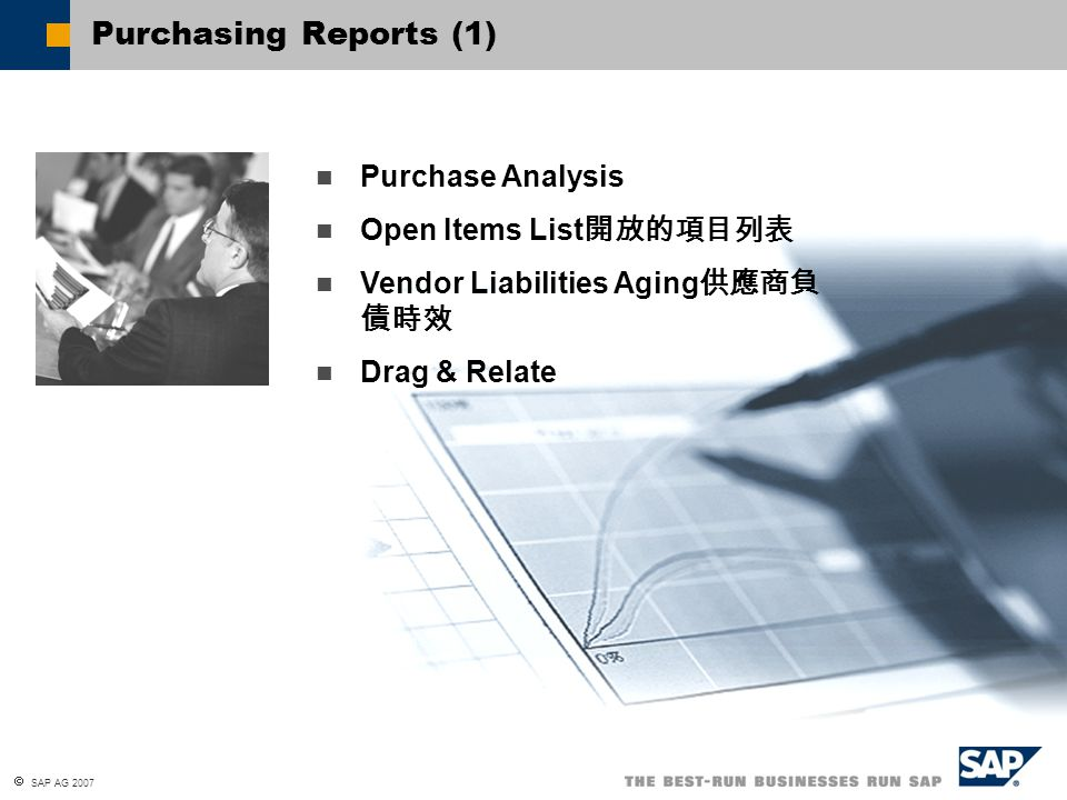 Purchasing Reports (1) Purchase Analysis Open Items List開放的項目列表