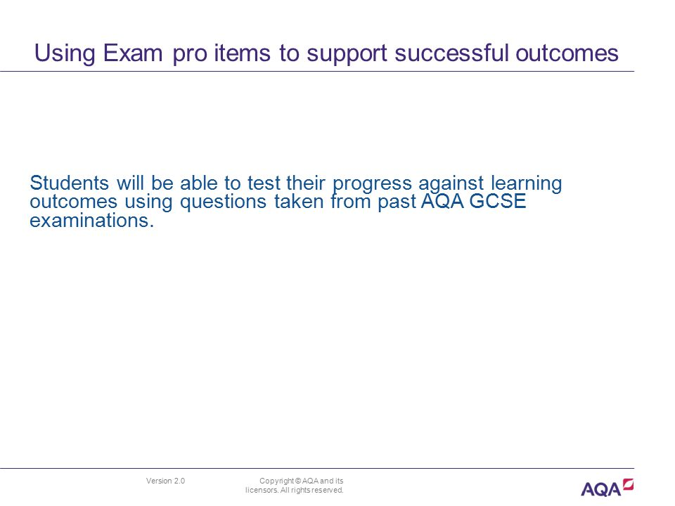 Using Exam pro items to support successful outcomes
