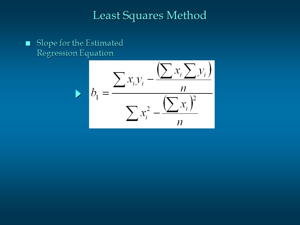 Least Squares Method Slope for the Estimated Regression Equation