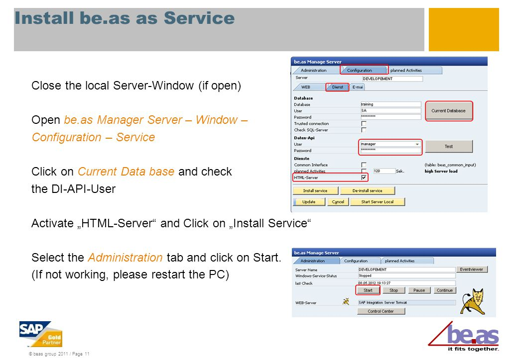 Install be.as as Service