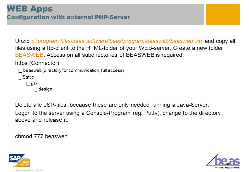 WEB Apps Configuration with external PHP-Server