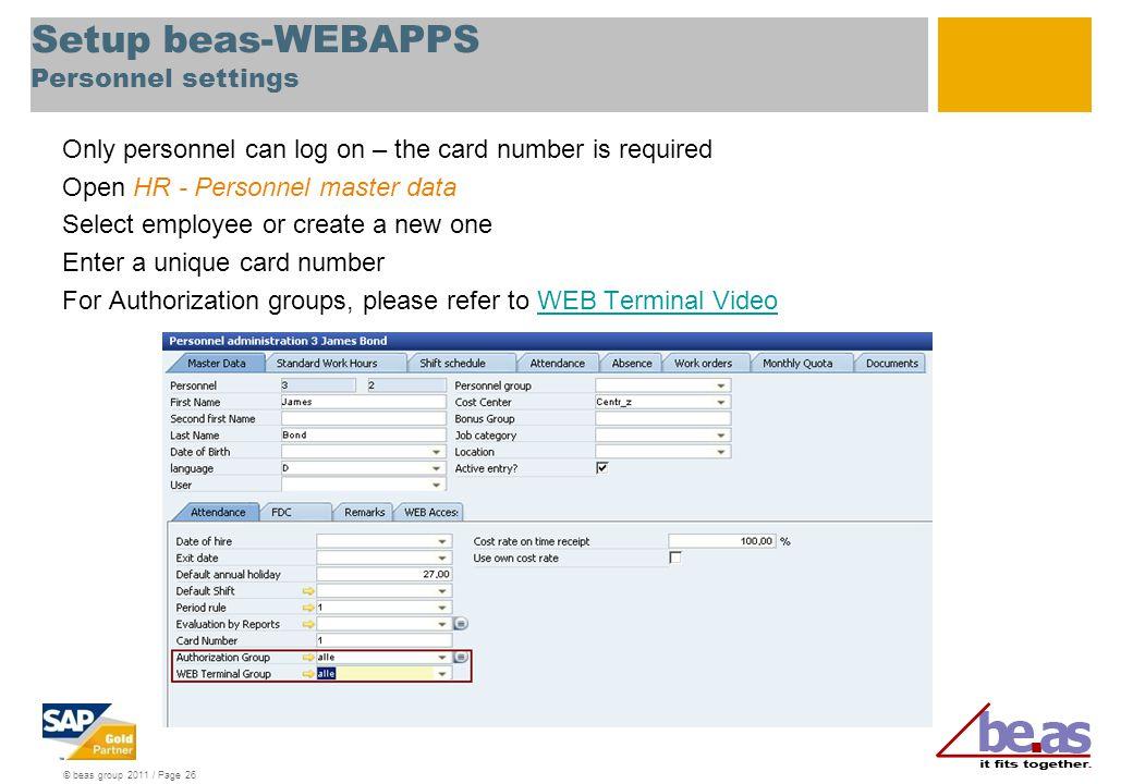Setup beas-WEBAPPS Personnel settings