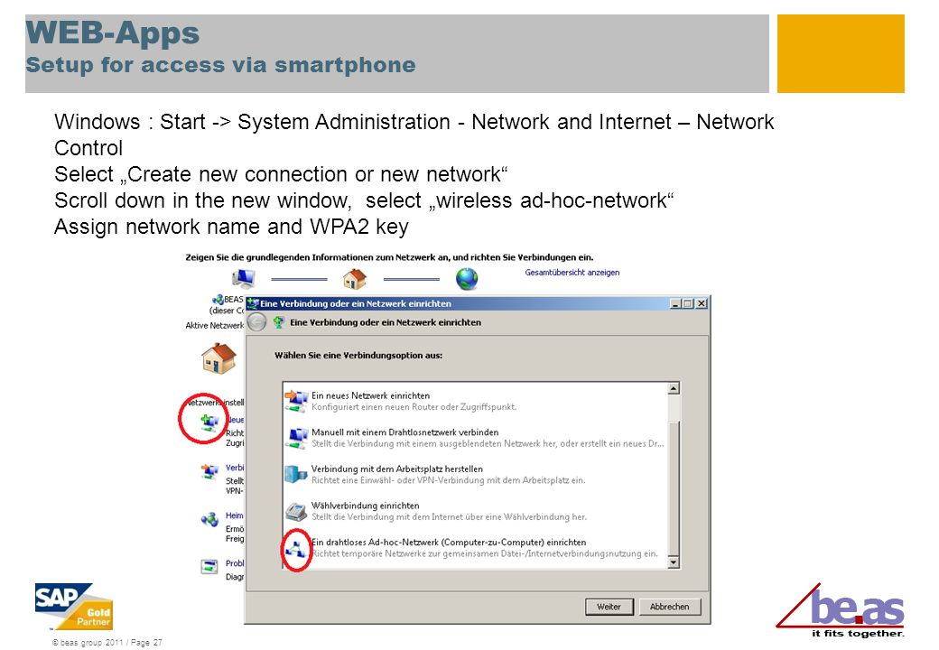 WEB-Apps Setup for access via smartphone