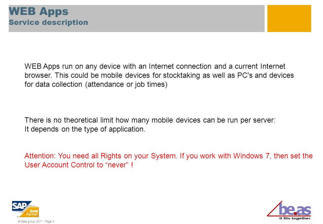 WEB Apps Service description