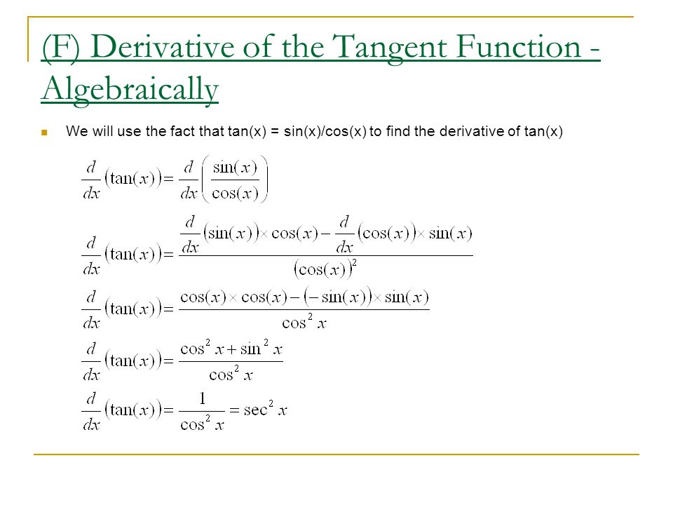 (F) Derivative of the Tangent Function - Algebraically
