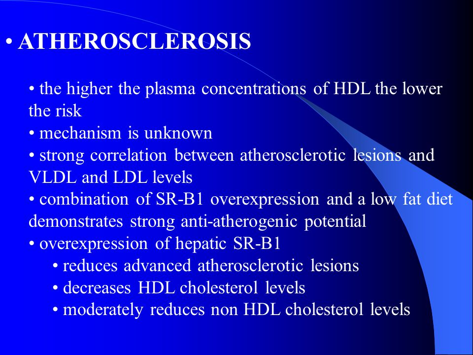 ATHEROSCLEROSIS the higher the plasma concentrations of HDL the lower the risk. mechanism is unknown.