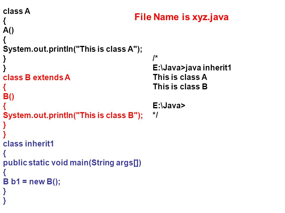 File Name is xyz.java class A { A()
