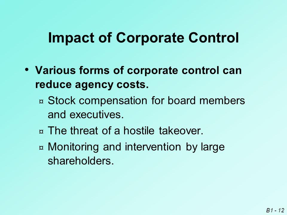 Impact of Corporate Control