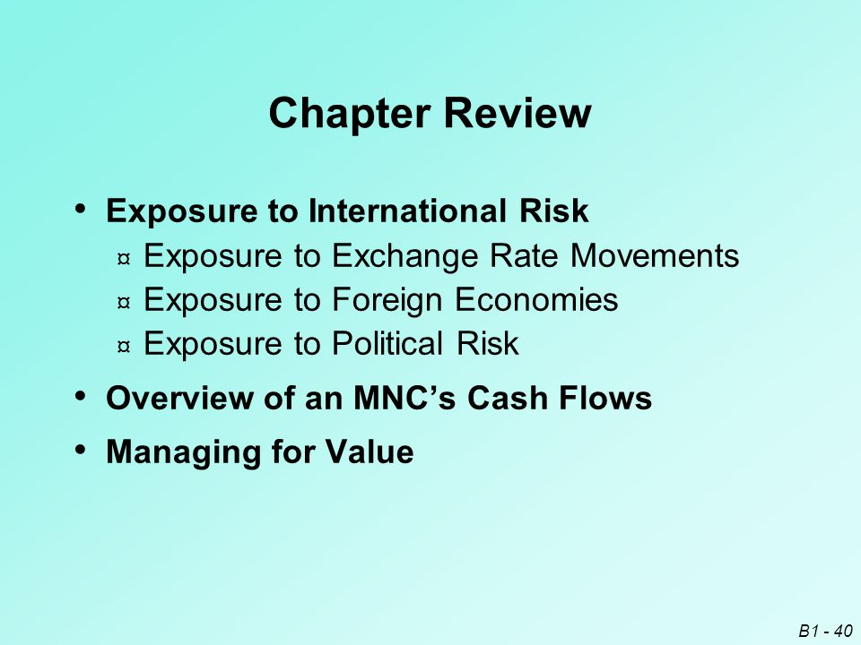 Chapter Review Exposure to International Risk