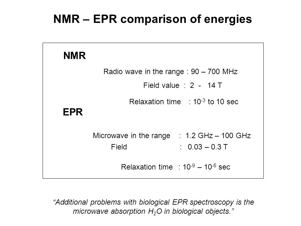 NMR – EPR comparison of energies