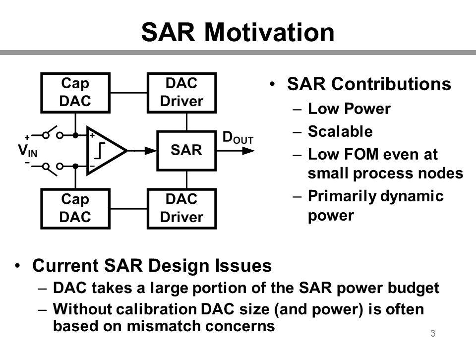 SAR Motivation SAR Contributions Current SAR Design Issues Low Power
