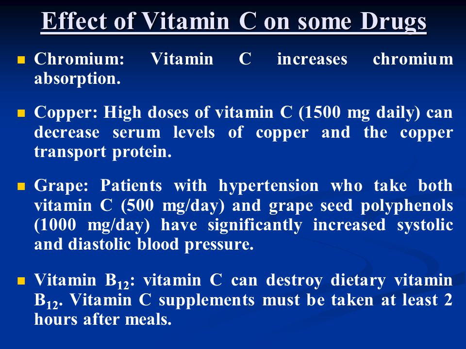 Effect of Vitamin C on some Drugs