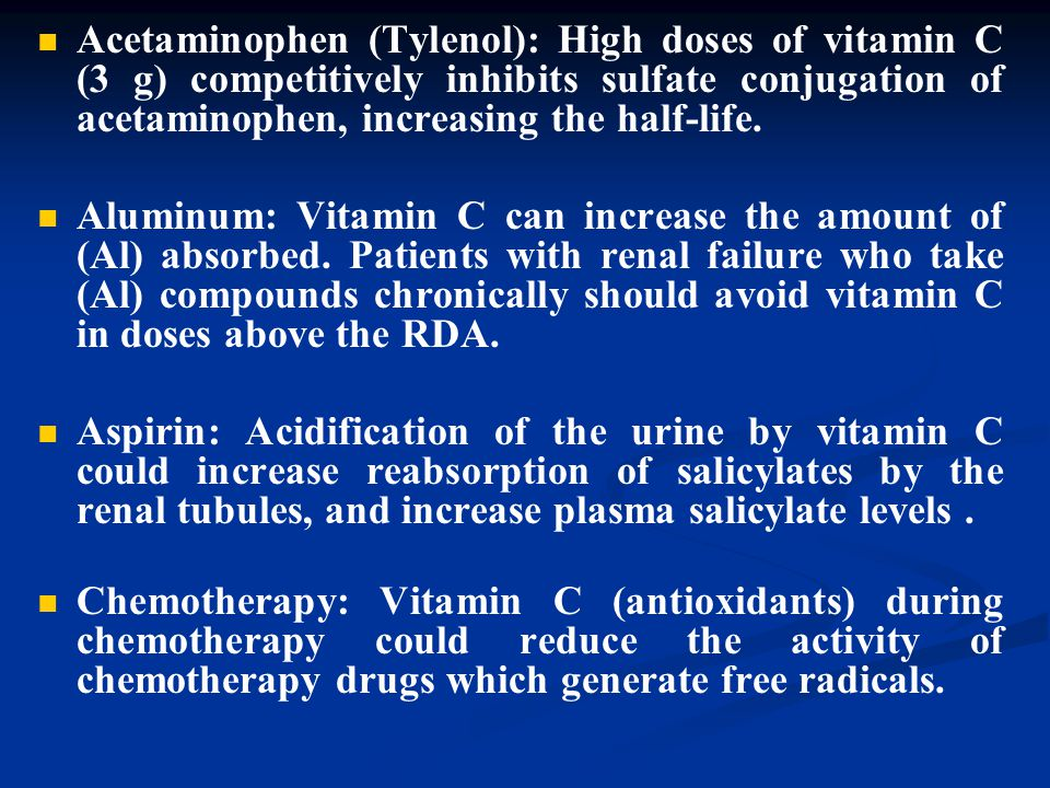 Acetaminophen (Tylenol): High doses of vitamin C (3 g) competitively inhibits sulfate conjugation of acetaminophen, increasing the half-life.