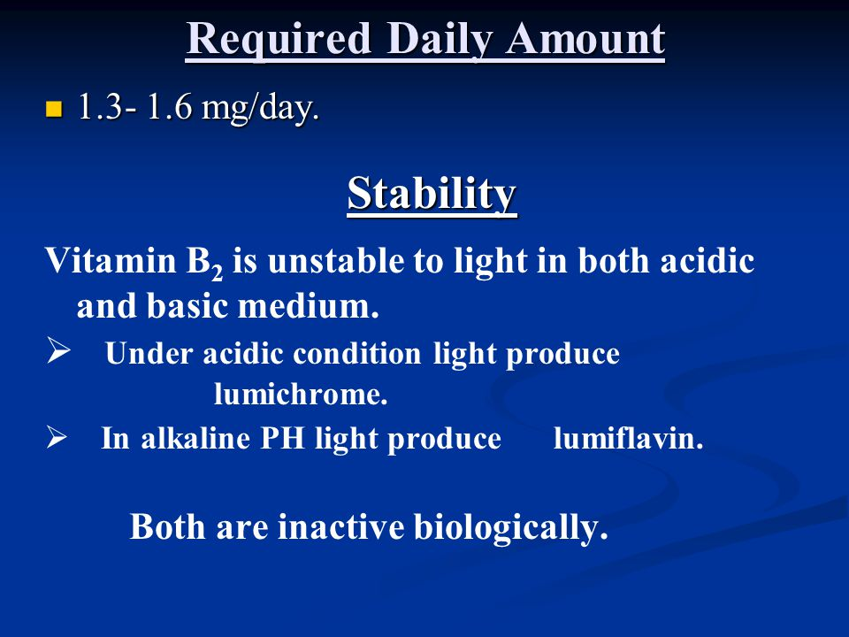 Required Daily Amount Stability
