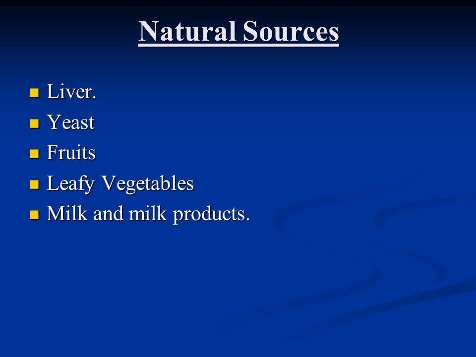 Natural Sources Liver. Yeast Fruits Leafy Vegetables