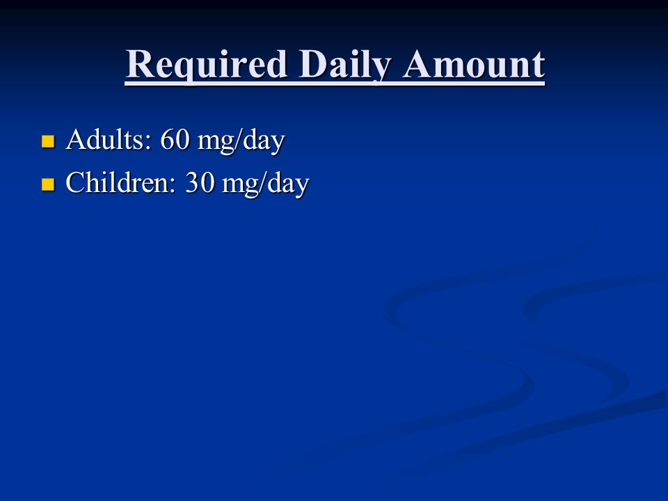 Required Daily Amount Adults: 60 mg/day Children: 30 mg/day