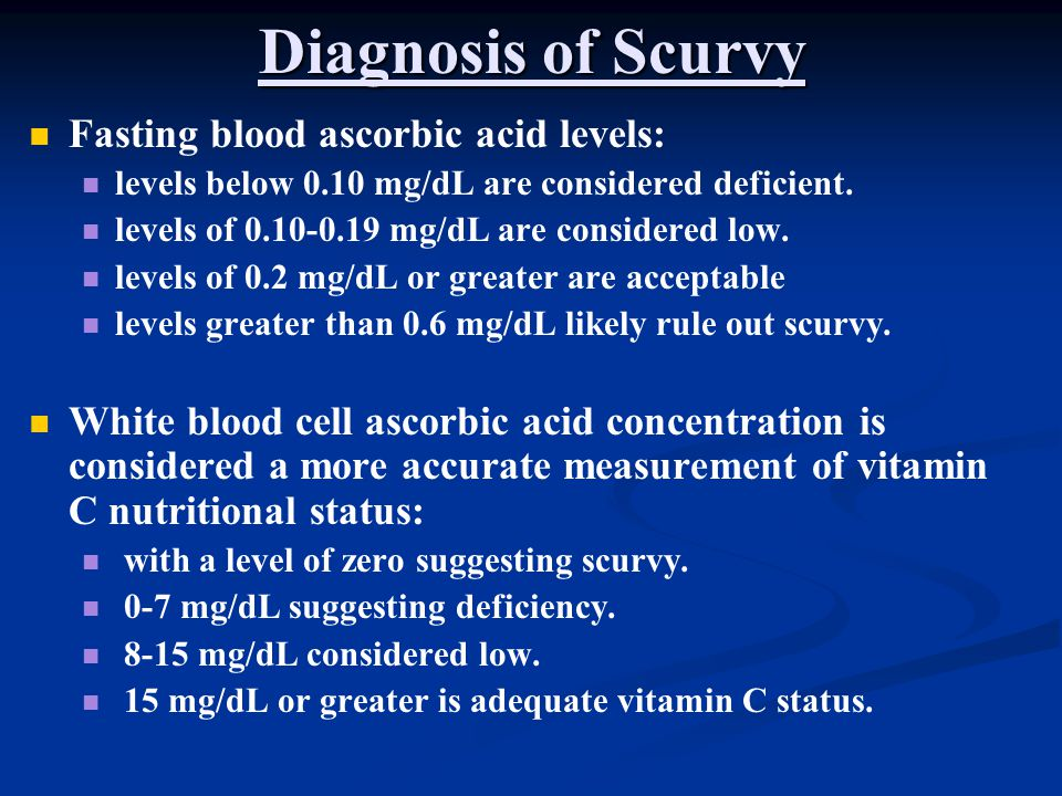 Diagnosis of Scurvy Fasting blood ascorbic acid levels: