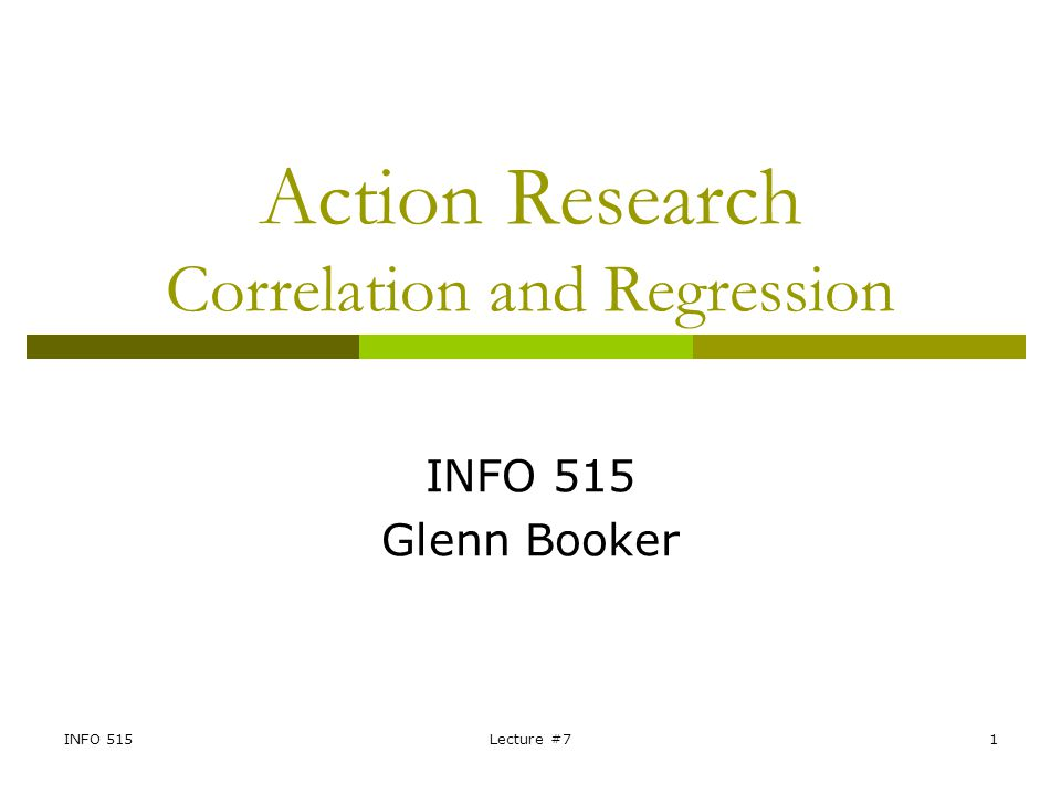 Action Research Correlation and Regression