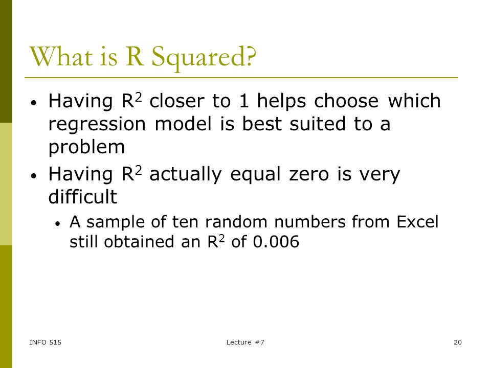 What is R Squared Having R2 closer to 1 helps choose which regression model is best suited to a problem.