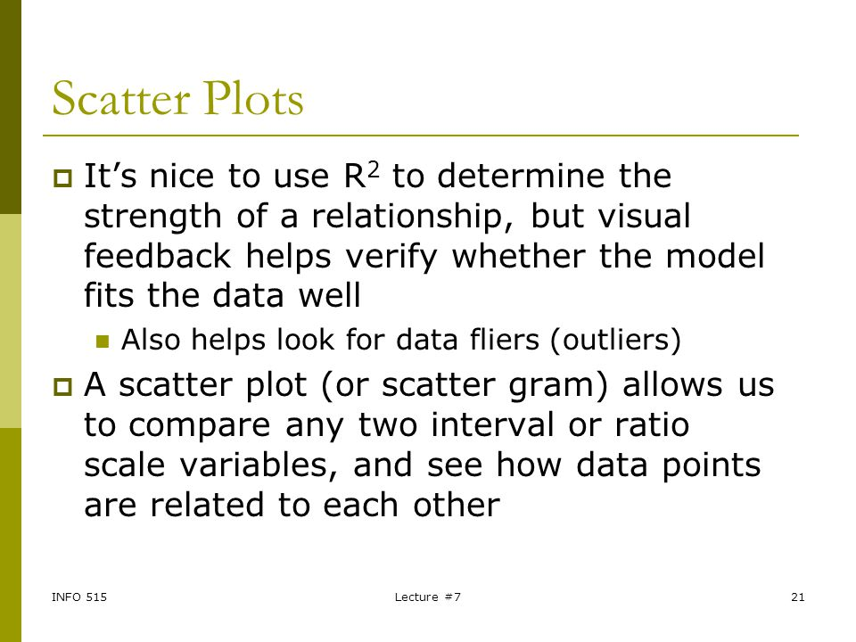 Scatter Plots It's nice to use R2 to determine the strength of a relationship, but visual feedback helps verify whether the model fits the data well.