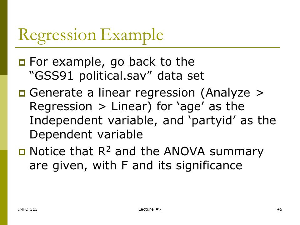 Regression Example For example, go back to the GSS91 political.sav data set.