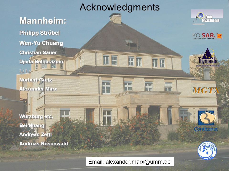 Acknowledgments Mannheim: Philipp Ströbel Wen-Yu Chuang