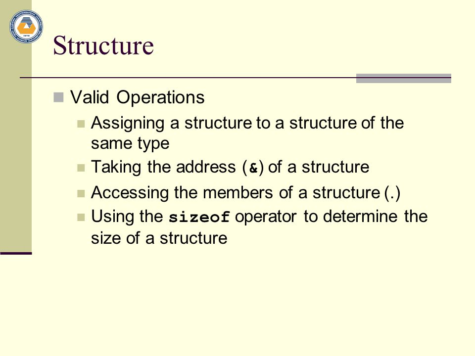 Structure Valid Operations