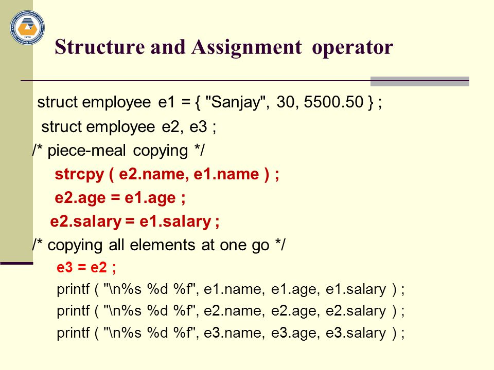 Structure and Assignment operator