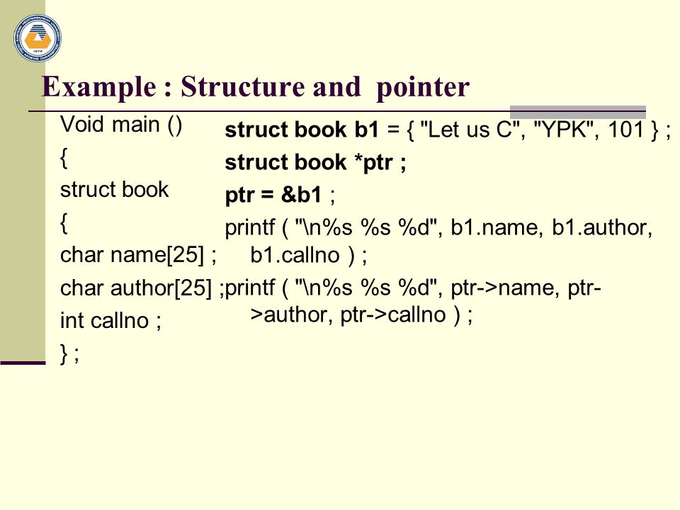 Example : Structure and pointer