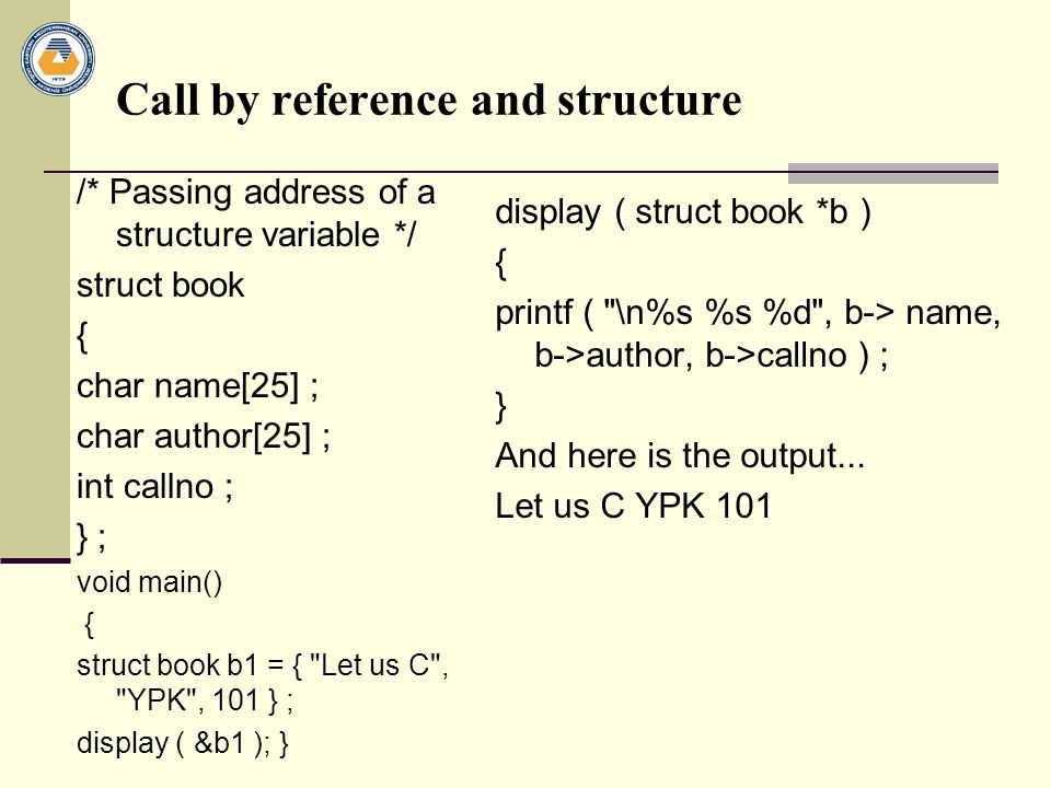 Call by reference and structure
