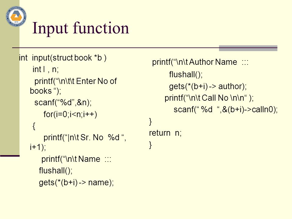 Input function printf( \n\t Author Name :::