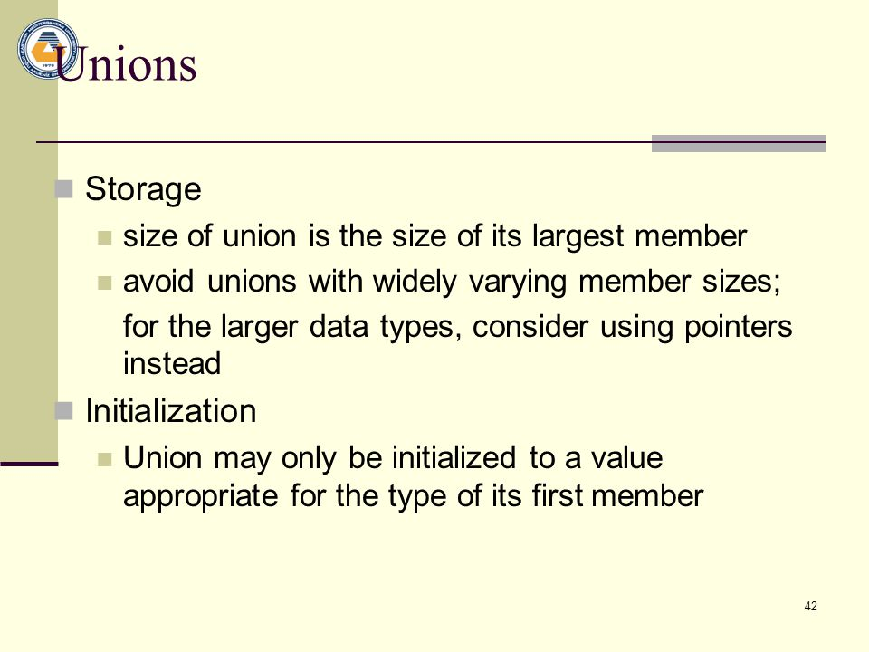Unions Storage Initialization
