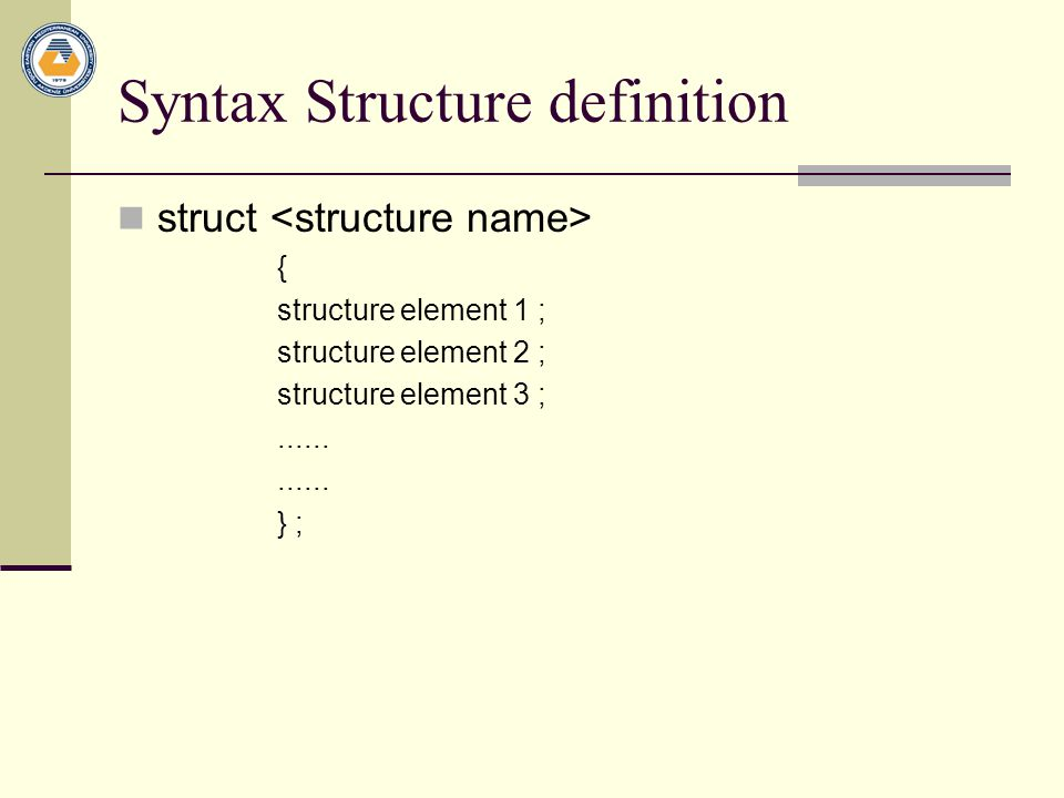 Syntax Structure definition