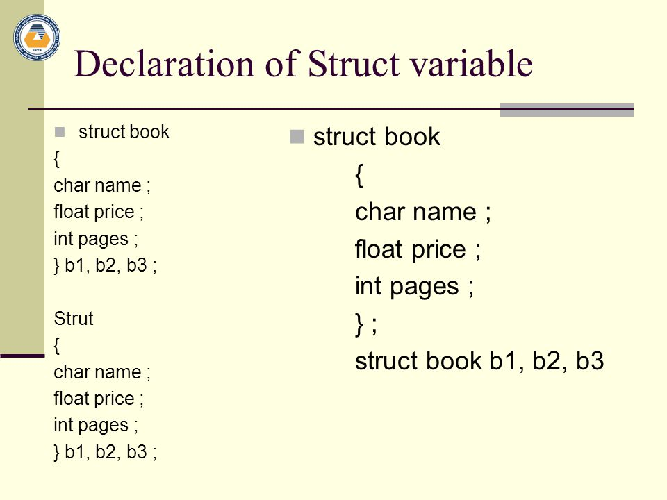 Declaration of Struct variable