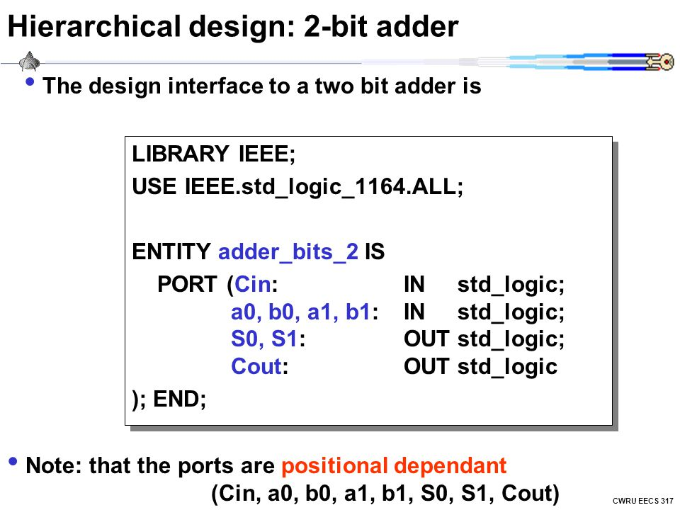 Hierarchical design: 2-bit adder