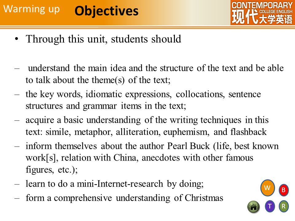 Objectives Warming up Through this unit, students should