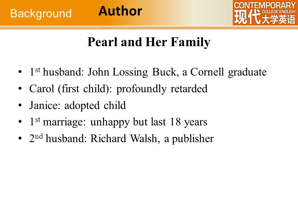 Author Pearl and Her Family Background