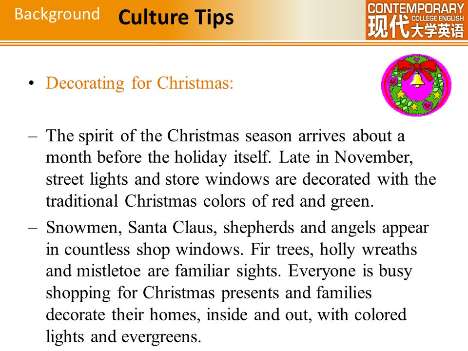 Culture Tips Background Decorating for Christmas: