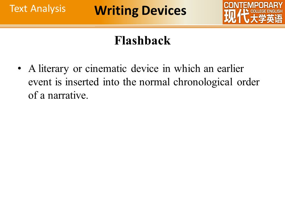 Writing Devices Flashback Text Analysis