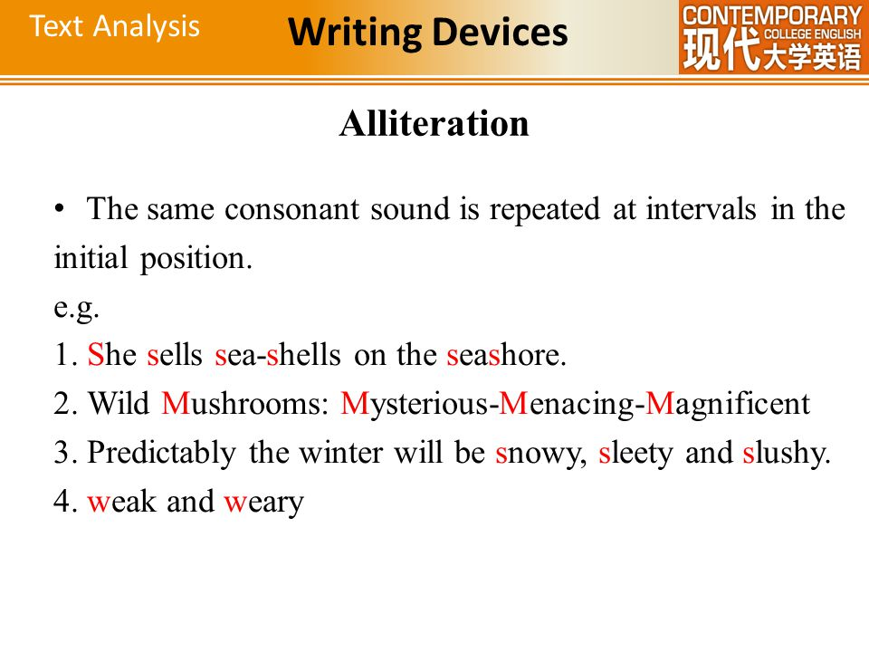 Writing Devices Alliteration Text Analysis